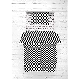 Bacati – Love Cotton Percale Toddler Bedding Unisex (4 pc Toddler Bedding Set, Black/White)