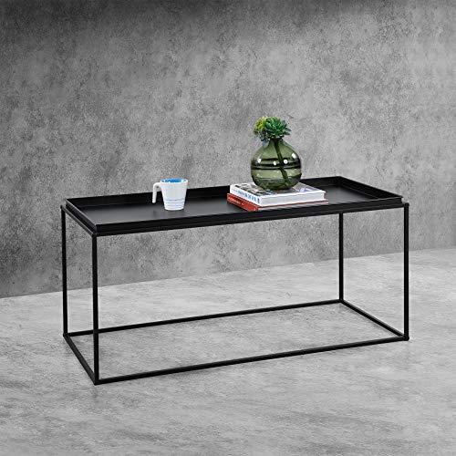 [en.casa] Couchtisch 47cm x 100cm x 50cm Beistelltisch Industriedesign Sofatisch mit Metallgestell Wohnzimmertisch Schwarz