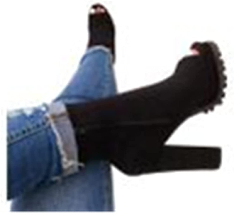 Zieglen Platform Boots for Women, High Heel Peep Toe Ankle Booties Hiking Boots Cowboy Boots for Women Combat Boots Shoes