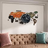 MEISD Large Decorative Wall Clock, 29 Inch Big World Map Wall Clocks for Living Room Decor, Modern 3D DIY Wall Sticker Clock for Bedroom Kitchen Home House Office, Silent Non Ticking, Battery Operated