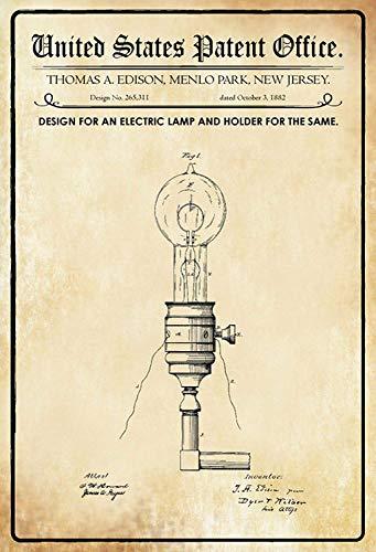 NWFS patent ontwerp voor een elektrische lamp metalen plaat plaat metalen plaat plaat metalen plaat plaat plaat metalen tin Sign gewelfd gelakt 20 x 30 cm