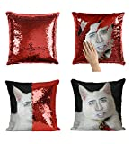 Nicolas Cage White Cute Cat Pillow, Sequin Mermaid Pillow, Reversible Pillow, Funny Pillow, Pillowcase, Xmas, Birthday, Gift, Present (Pillow Cover + Insert)