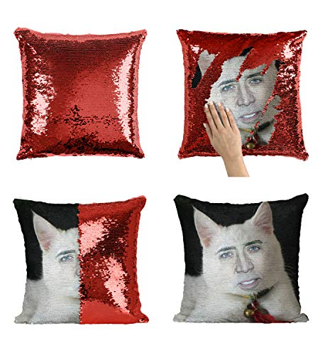 Nicolas Cage White Cute Cat Pillow, Sequin Mermaid Pillow, Reversible Pillow, Funny Pillow, Pillowcase, Xmas, Birthday, Gift, Present (Pillow Cover)