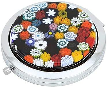 GlassOfVenice Espejo compacto plegable de cristal de Murano Millefiori, multicolor