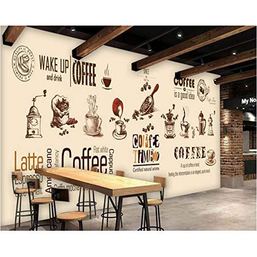 Hwhz Tapete der Wand 3d abziehbar Hochwertige Tapete Handbemalte Europäische Und Kaffeetasse Kaffeestube Kaffeebohnen Hintergrundbild-280X200Cm