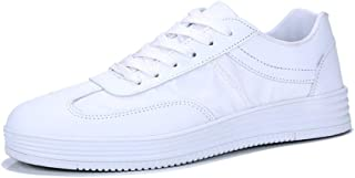 Shangruiqi Fashion Sneakers for Men Casual Skater Sports Shoes Lace Up Low Top Stitch Microfiber Leather Round Toe Lightweight Wear Resistant Anti-Wear (Color : White, Size : 6 UK)