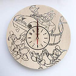 7ArtsStudio Daisy and Donald Duck Wall Clock Made of Wood - Perfect and Beautifully Cut - Decorate Your Home with Modern Art - Unique Gift for Him and Her - Size 12 Inches