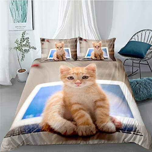 GD-SJK - Juego de ropa de cama para niña, 2/3 piezas, diseño de gato en 3D, funda nórdica de microfibra suave con cremallera, 75 x 50 cm, A02, 155 x 220 cm