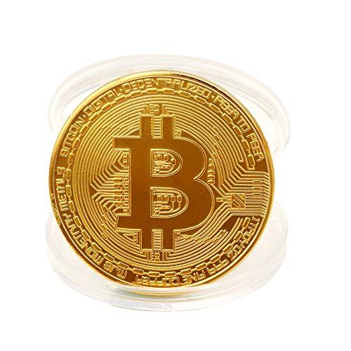 Allegorly Gold überzogene Bitcoin Münze Sammlerstück BTC Münze Kunstsammlung Physikalisch Kollektion EIN Muss für jeden Krypto-Fan 38mm