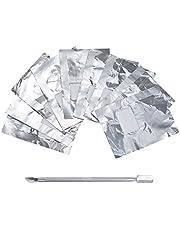 Lictin 200 stuks polish remover wraps pads en 1 stuk nagelriemschuiver, hulpmiddel voor het eenvoudig verwijderen van UV-lak of nagellak zilveren schuiver