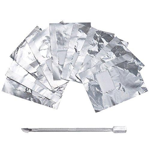 Lictin 200 Stück Polish Remover Wraps Pads und 1 Stück Nagelhaut Schieber, Hilfsmittel zum einfachen entfernen von UV-Lack oder Nagellack