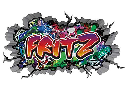 3D Muurtattoo graffiti-muursticker naam FRITZ muurdoorbraak sticker Boy zelfklevend muursticker jongenddeco kinderkamer 11MB677 ca. 140cmx82cm