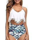 Tempt Me Women White High Waisted Bikini Blue Leaves Ruffle Swimsuit Flounce Pom Pom Trim Two Piece Bathing Suit XL