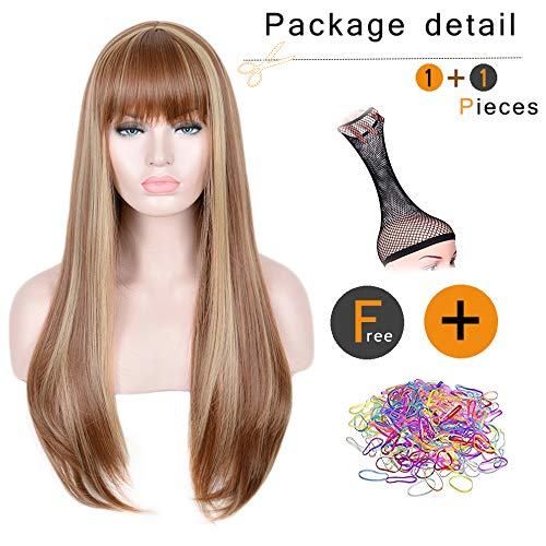 SiYi Long Light Brown Wig with Bangs Blonde Highlights Straight Synthetic Full Wig Heat Resistant Costume Wig for Women Girl and lady's hair natural color party hairstyle
