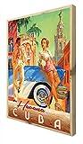 CCRETROILUMINADOS Havana Cuba Cuadro con Marco de Madera Retroiluminado, Metacrilato, Multicolor, 100 x 80