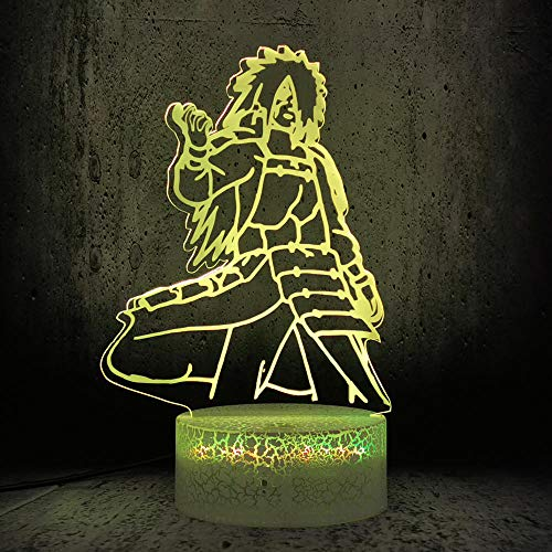 3D Illusion Lampe Led Nachtlicht Uchiha Madara Figur Touch Remote Tischlampe Naruto Boy Schlafzimmer Geburtstag Urlaub Dekor Anime Fans Gerät Hauptdekoration Kinderschlaflampe