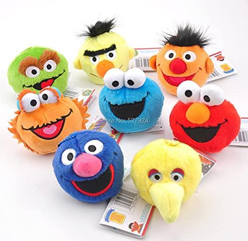 8Pcs Barrio Sésamo Elmo Cookie Grover Bert Oscar Zoe Emie Big BirdMuñeco De Peluche Llavero Colgante para Niños Cumpleaños Navidad Paquete Caja 9Cm