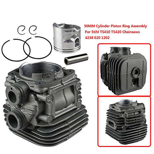 FLYPIG 50mm Cylinder Head Piston Kit Cylinder & Piston Assembly With Gaskets Piston Rings Pin Clips for Stihl TS410 TS420 Replacement Part# 4238 020 1202
