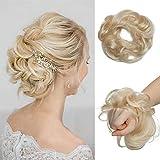 Silk-co Chouchou Chignon Cheveux Naturel Donut Femme Postiche Chignon Ondulé 100% Cheveux Humain Naturel Queue De Cheval Bouclé - #60 Blond Platine