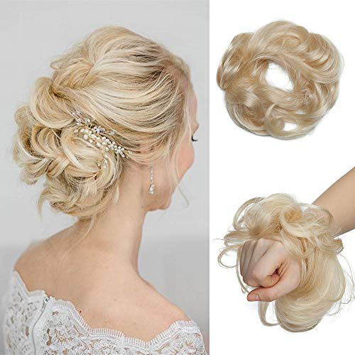 Haarteil Haargummi Echthaar Haarknoten für Frauen Dutt Haarteil Hochsteckfrisuren 23g Gewellt Hair Bun Extensions 100% Echthaar 60# Platinblond