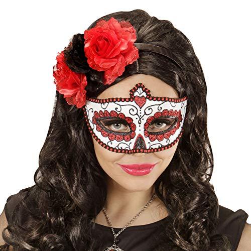 NET TOYS Elegante mscara de Calavera - Rojo-Blanco - Lindo Accesorio de Disfraz para Dama Da de los Muertos - Insuperable para Halloween y Festival