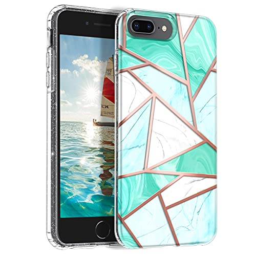 Hekodonk for iPhone 8 Plus Case, Clear Design TPU Bumper Protective Silicone Shockproof Yellow-Resistant Anti-Scratch Cover for Aple iPhone 8 Plus/7 Plus/6 Plus Glitter Marble Mint