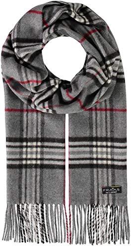 FRAAS Herren-Schal kariert aus reinem Cashmink® - 30 x 180 cm - Perfekt für Herbst & Winter - Feiner als Cashmere - Plaid Fransenschal - Made in Germany Grau