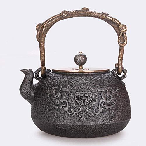 BINGFANG-W café Juegos de té de hierro fundido Hervidor 1350 ML Hierro Viejo Olla de hierro fundido Fushou mapa original de hierro sin revestir ESE manija arte del hierro olla de cobre Botella de cobr