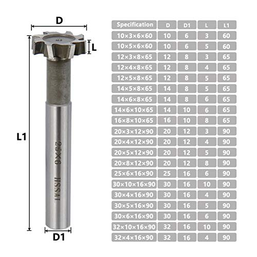 SHIZHI T-Slot Router Bit HSS End Mill 10-32mm Straight Shank Milling Cutters for Metalworking Keyway Tool Tungsten Carbide Cutter (Cutting Edge Length : 12x4x8x65mm)