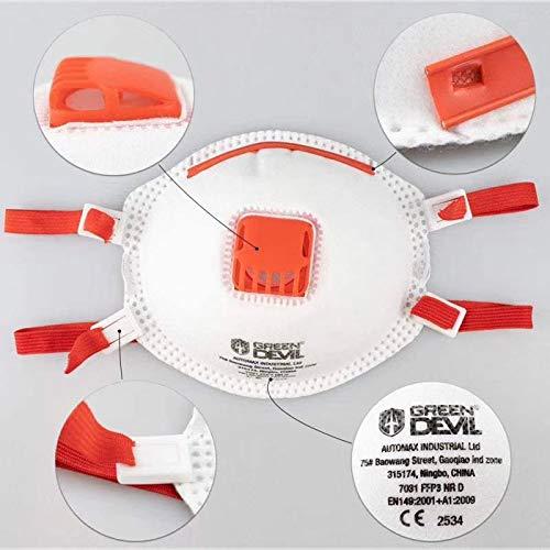 Andreas Dell EL -  Protector bucal FFP3 N99 con válvula y Bandas elásticas