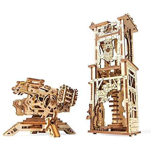 UGEARS 70048 Balliste y Torre Ejército Histórico 292 Piezas Modelo con Varias Funciones – revitaliza la legendaria artillería Medieval maqueta de maqueta de Madera