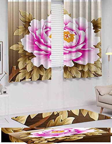 Blackout-Curtains, Pink and White Fubuki Dahlia Over red and White Santa Claus Dahlia, Wear-Resistant Color Curtain, Light Blocking Panels, W63 x L72 inch,