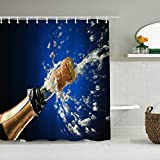 Haoerwu Personalisierter Duschvorhang,Lustiges Champagner-Sprühen Feiern Sie Party Happy,wasserabweisender Badvorhang für das Badezimmer 180 x 180cm