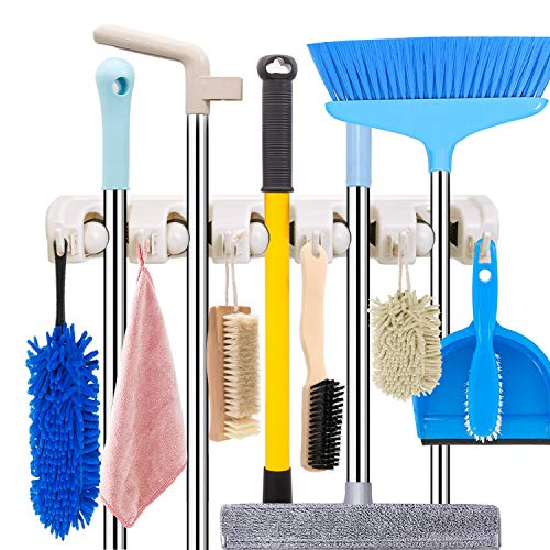 Mop and Broom Holder Wall Mount Heavy Duty Broom Organizer Mop Hanger Wall Mounted Home Garden Garage Tool Organizations Storage Rack Accessories and System