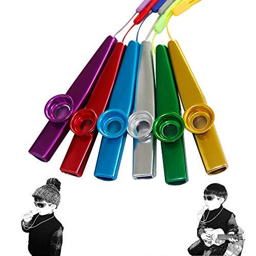 Kazoo Instrumentenflöten aus Metall, 6 Farben, Gitarre, Ukulele, Violine, Klaviertastatur, Kazoos mit Tragebändern 06