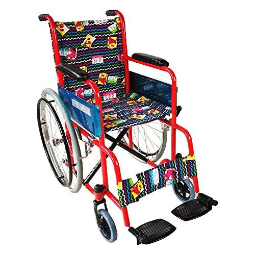 Mobiclinic, modelo Teatro, Silla de ruedas ortopédica, plegable, para minusválidos, freno en manetas, reposapiés y reposabrazos extraíbles, Rojo tapicería estampada, asiento, ultraligera