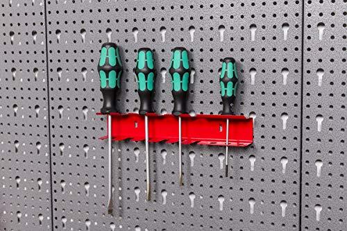 Große Werkzeug Lochwand bestehend aus 4 Lochblechen á 58 x 40 cm und Hakensortiment 22 Teile. Aus Metall in Hammerschlag-Grau und Rot. Gesamtmaß: 160 x 58 x 1 cm - 6