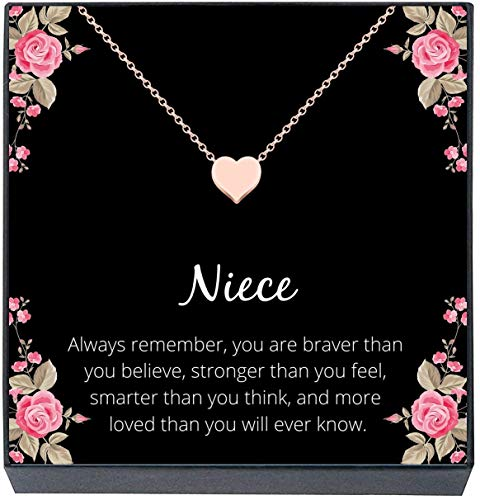 """Niece Necklace Jewelry Gift from Aunt or Uncle ''You Are Braver, Smarter, Stronger, Loved"""" Small Heart Necklace for Girls, Teens, Women, Birthday, Graduation, Sweet 16 (Rose Gold)"""