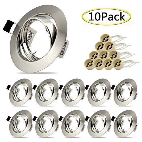 10x Einbaustrahler GU10 Set Einbaurahmen Einbauleuchte in Edelstahl gebürstet Optik Inkl. GU10 Fassung für LED oder Halogen Leuchtmittel, Schwenkbar, Rund