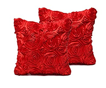 SeptCity Decorative Throw Pillow Covers for Couch Cushion Case Romantic Love Satin Rose Wedding Party Home Decor Home Gift  Set of 2 -Red