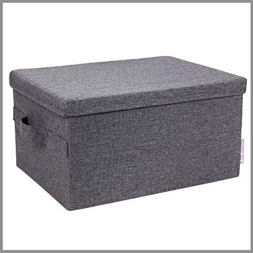 Bigso Box of Sweden mittelgroße Aufbewahrungsbox mit Deckel und Griff – Schrankbox aus Polyester und Karton in Leinenoptik – Faltbox für Kleidung, Bettwäsche, Spielzeug usw. - grau