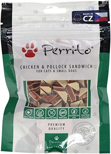 Perrito Hundeleckerli Chicken undPollock Sandwich, small, Sandwich aus Hühnerfleisch und Pollock in Dreiecksform, 5er Pack (5 x 100 g)