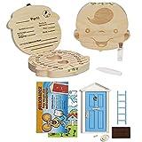 LA PUERTA MÁGICA del Ratoncito Pérez + Caja dientes de leche + pinzas + botella esterilizadora + escalera + plato + queso + felpudo + llave + dibujo fondo de puerta + postal (Azul Niño)