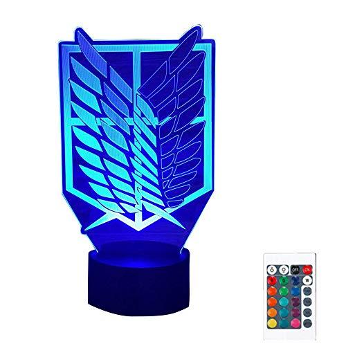 Attack On Titan 3D Illusion Lámpara de mesa, 16 colores Attack On Titan Night Light con sensor táctil y mando a distancia USB LED Night Light Atmosfera Luces nocturnas para mesilla de noche