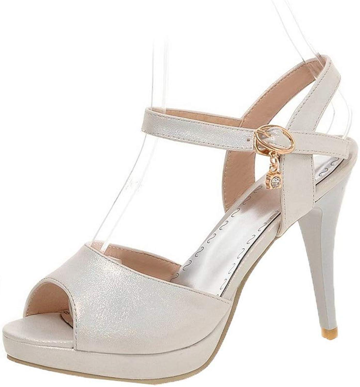 AmoonyFashion Women's Buckle Pu Open-Toe High-Heels Solid Sandals, BUTLT007709