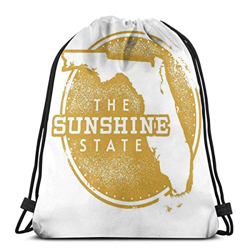 Bolsa de viaje con cordón de Bapa Sport Gym Cinch Bag para mujeres, hombres, niños, mapa de la ciudad con un diseño circular y efecto grunge The Sunshine State