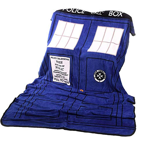 Textiles para el hogar Edredón Doctor Who Tardis Anime Manta Sofá Franela Fleece Tela Manta de Colcha Manta Niños Adultos, Grande 226X127Cm