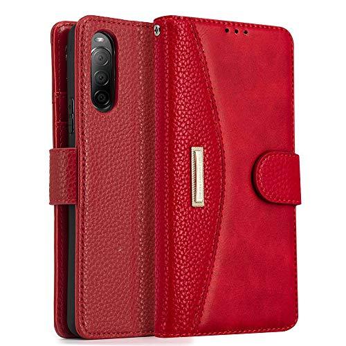 LOKAKA Coque pour Sony Xperia L4,Pochette Housse Etui [Porte Carte Credit Ticket Metro], [Fonction Stand Video],[Fermeture Magnetique] – Rouge