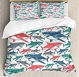 Juego de funda nórdica Shark, mezcla de coloridos patrones de la familia del tiburón toro Maestros depredadores de supervivencia Naturaleza peligrosa, juego de cama decorativo de 3 piezas con 2 fundas