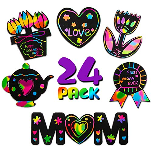 ORIENTAL CHERRY Arts and Crafts for Kids 4-6, Mothers Day Activities Magnets, 24 PCS Rainbow Scratch and Sketch Art Paper, Toddler Supplies for Boys and Girls, Ages 3-5 6-8